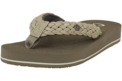 Cobian Womens Women's Braided Bounce Flip-Flop, Cream, 11 M US