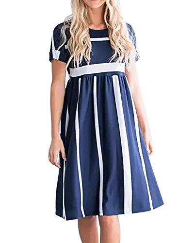 Midi Navy Sleeve Dress Waist Beach Empire Pockets with Foshow Womens Dresses Striped Summer Short AqRqHX