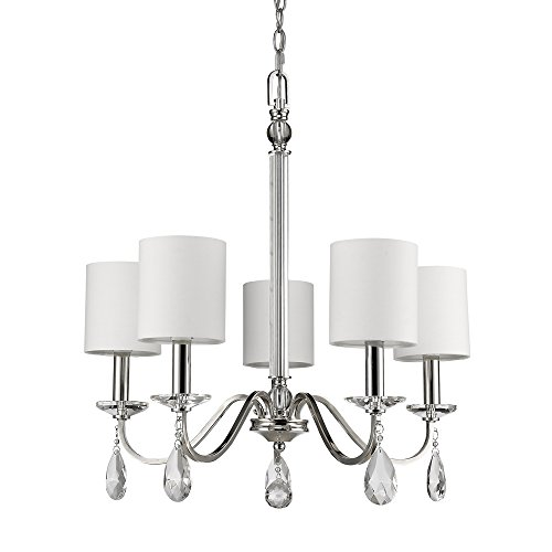 Chandelier Light 5 Candlestick (Acclaim Lighting IN11052PN Lily Indoor 5-Light Chandelier with Shades & Crystal Pendants, 11