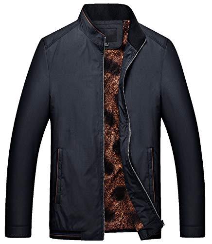 chouyatou Mens Casual Softshell Full Zip Lightweight Bomber Jacket (Large, Thick-Black)