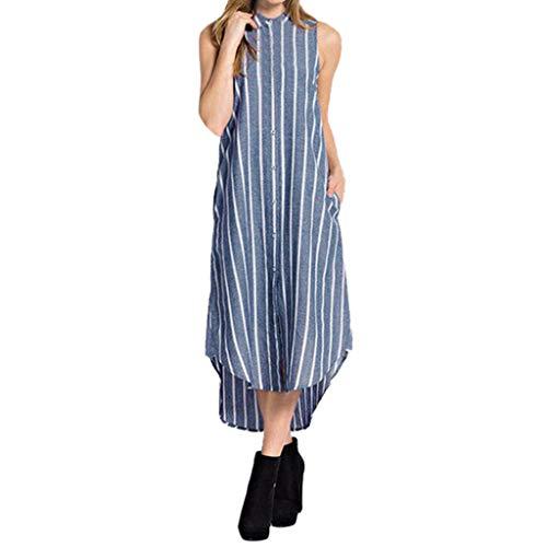TIANMI Fashion Women's Summer Casual Stripe Sleeveless Turn-Down Collar Breasted Dress Blue