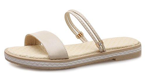 Aisun Women's Comfy Open Toe Flat Sandals Shoes Apricot