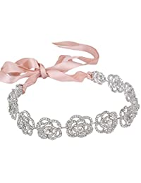 Ever Faith Austrian Crystal Bridal Hollow-Out Rose Flower Ribbon Hair Band Clear