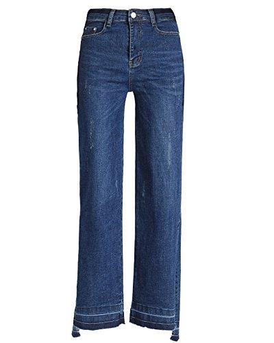 Con Causale Spacchi Tasche Blu Jeans Laterali A Zampa Alta Zhuikuna Donna Vita IwfTqx7
