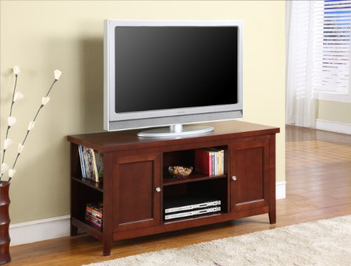 Kings Brand Finish Wood TV Stand Entertainment Center with Storage, Walnut (Cherry Tv Stand)