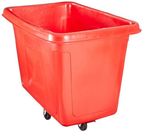 Rubbermaid Commercial Products FG461900RED Polyethylene Cube Truck (600-Pound Load Capacity, 36-1/2-Inches x 48-Inches x 34-1/8-Inches, Red) ()