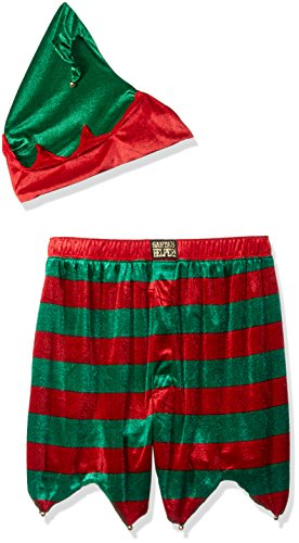 [MJC International Men's Ugly Christmas Elf Costume Boxer with Hat, Green/Red, Medium] (Green And Red Elf Costumes)