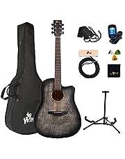Winzz 41 inch akoestische gitaar full size vintage gravure, beginners folk gitaar 4/4 met gewatteerde tas, standaard, tuner, pick-up, riem, picks, reinigingsdoek