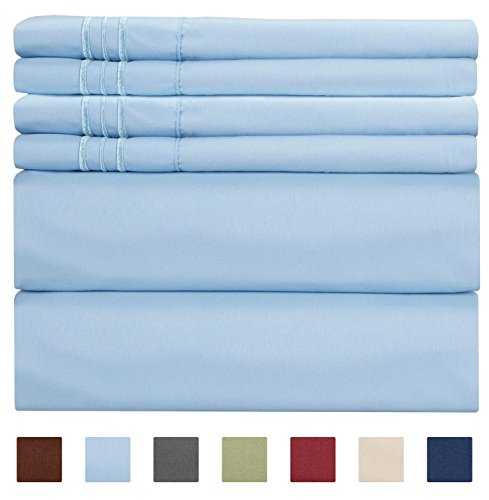 CGK Unlimited Extra DEEP Pocket Sheets - Super DEEP Pocket Bed Sheet Set - Deep Fitted Flat Sheet - California King Size Light Blue - Cal King - Baby Blue