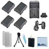 4 NB-2LH Batteryies+ Charger for Canon EOS-350D, EOS-400D, 50, 400, 500, 60, ZR-100, ZR-200, ZR-300, ZR-400, ZR-500, ZR-600, ZR-700 and more... + Complete starter kit