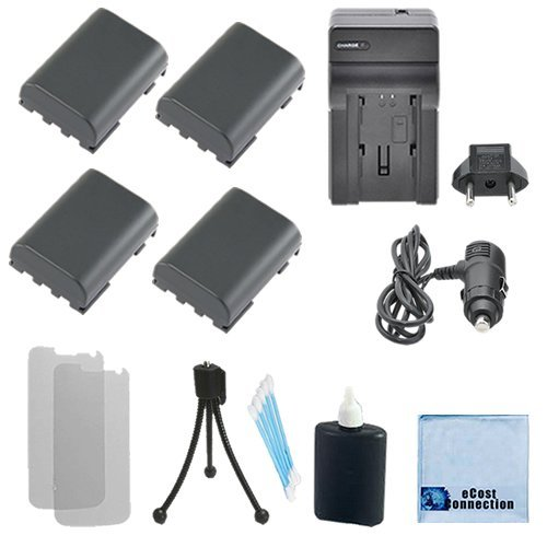 300i Memory (4 NB-2LH Batteryies+ Charger for Canon EOS-350D, EOS-400D, 50, 400, 500, 60, ZR-100, ZR-200, ZR-300, ZR-400, ZR-500, ZR-600, ZR-700 and more... + Complete starter kit)