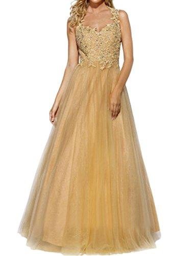 Charmant Damen Hochwertig Gold Spitze Tuell Abendkleider Promkleider Abschlussballkleider A-linie Prinzess