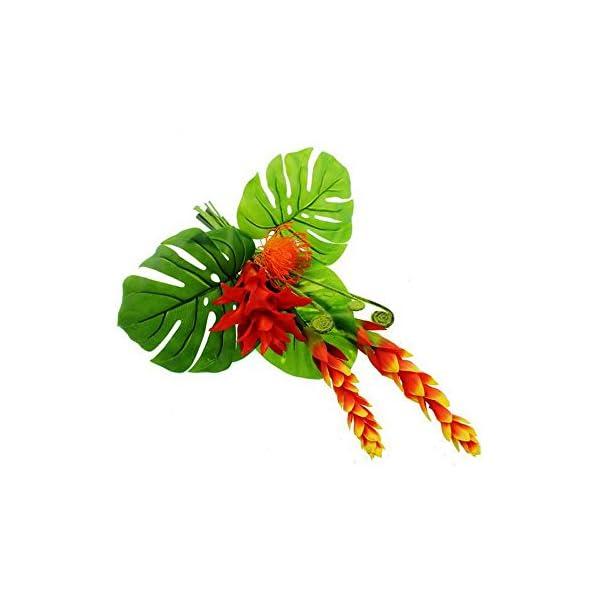 Floristrywarehouse-Guzmania-Protea-Fern-Artificial-Bouquet-Orange-and-Green-22-Inches