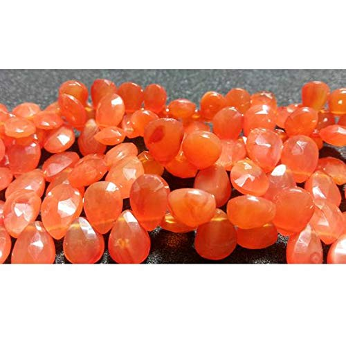 GemAbyss Beads Gemstone 1 Strand Natural Carnelian Briolettes, Faceted Carnelian, Pear Beads, 8x11mm Beads, 4 Inch ()