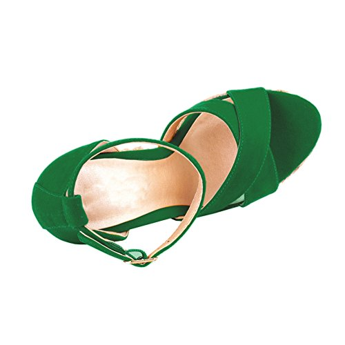 EKS - Sandalias de vestir para mujer Verde