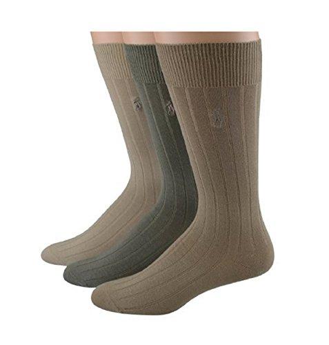Polo Ralph Lauren mens socks Dress Mercerized Rib Cotton khaki asst. 3pairs (Ralph Lauren Khaki Green)