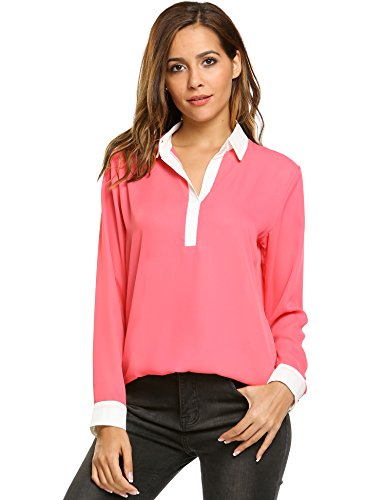 V-Neck Plus Size Batwing Sleeve Blouse Chiffon T-Shirt Top (Red) - 4