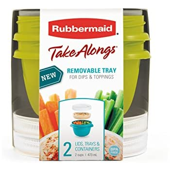 Rubbermaid TakeAlongs 2-Cup On-the-Go Snack Food Storage Container (2 Pack), Colors May Vary