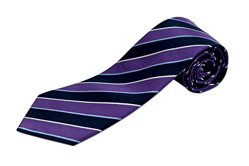 Extra Long Purple and Navy Striped Silk Tie
