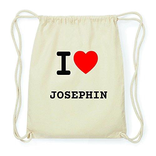 JOllify JOSEPHIN Hipster Turnbeutel Tasche Rucksack aus Baumwolle - Farbe: natur Design: I love- Ich liebe