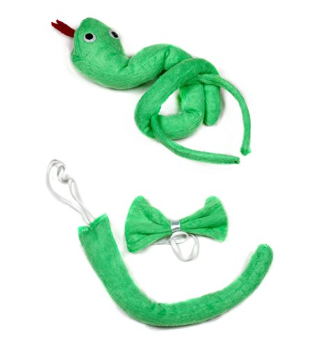 Green Snake Headband Bowtie Tail 3pc Costume for Children Birthday or (Snake Tail Costume)