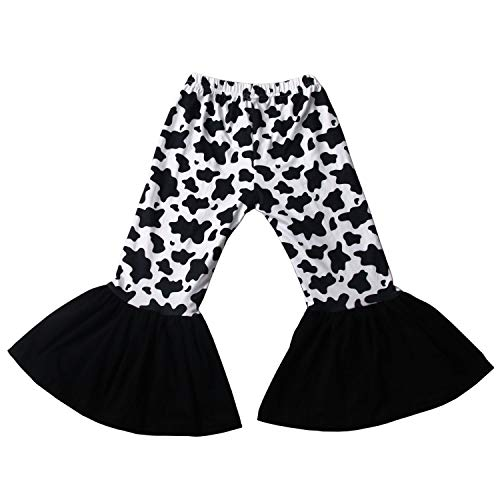 Girls Cow Animal Pattern Bell Bottoms Pants Ruffle Leggings Flare Pants 5T Black-White