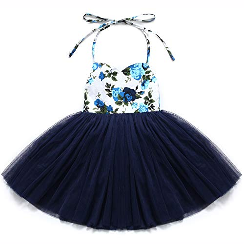 Flofallzique Easter Dress for Toddler Girls Vintage Floral Tutu Christening Birthday Party Baby Girls Clothes(3, Navy Blue) -