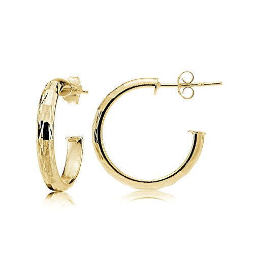 (Gold Flash Sterling Silver 3mm High Polished Diamond-Cut Half Hoop Earrings, 20mm)