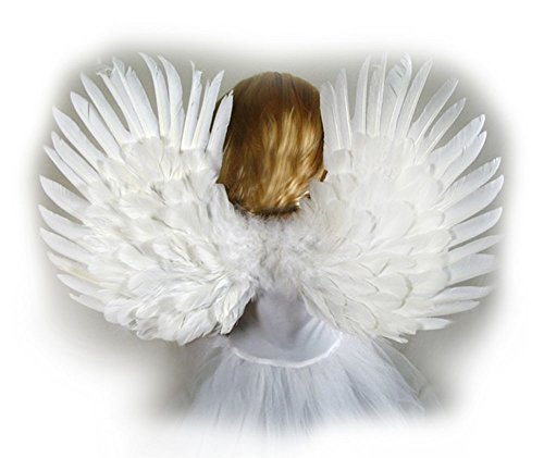 Angel Costumes For Little Girls (Small White Feather Angel Wings for kids, girls, or boys with Free Halo)