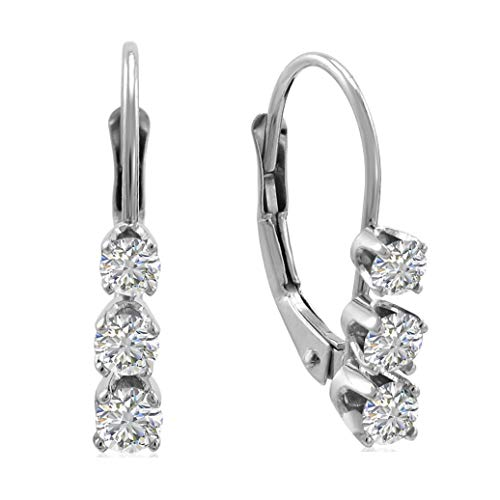 AGS Certified 1/2ct TW Diamond Leverback Earrings in 14K White Gold (H-I, I1-I2)