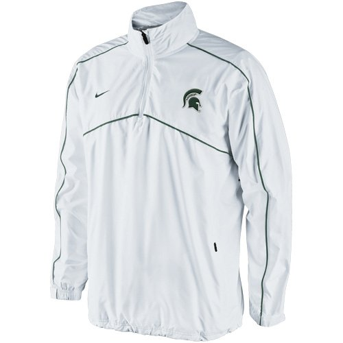 (Nike Michigan State Spartans Woven Coaches Quarter-Zip Pullover Jacket - White (XX-Large))