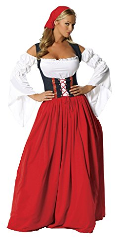 Roma Costume 4 Piece Swiss Miss, Red/White, Small/Medium -