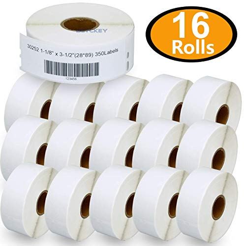 """16 Rolls DYMO 30252 Compatible 1-1/8"""" x 3-1/2""""(28mm x 89mm) Self-Adhesive Address Labels,Compatible with Dymo 450, 450 Turbo, 4XL and Many More"""