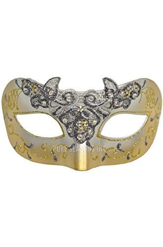 Mardi Gras Lace Fairy Masquerade Mask (Gold)