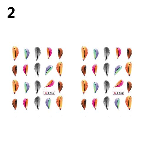 lightclub 2Pcs Women Fashion Feather Nail Art Decal Water Transfer Stickers Tips Decoration Multicolor