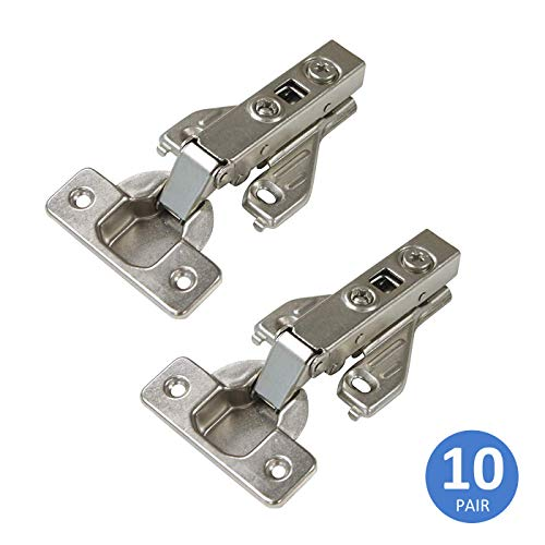 Soft Close Cabinet Hinges Satin Nickel, Full Overlay 105 Degree Opening Angle Clip On Face Frame Mounting Heavy Duty Kitchen Cabinet Hinges, 10 Pair
