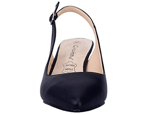 Pump Pu Black Kitten Womens Dress Greatonu Slingback xw0YqnIvSW