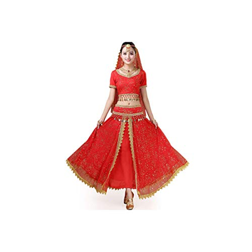 Women Belly Dance Clothing Set Indian Dance Costumes Bollywood Dress,Red,L -