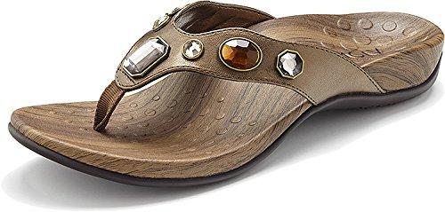 Vionic Eve Supportive Thong Sandal Shoe - Bronze Metallic - Womens - 8