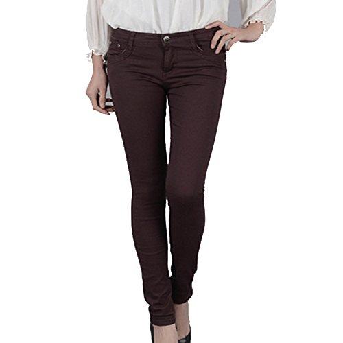 YAOYUE US Women's Slim Skinny Dress Pants Jeggings Stretchy Pencil Pants (XL, - Stretch Brown Jeans