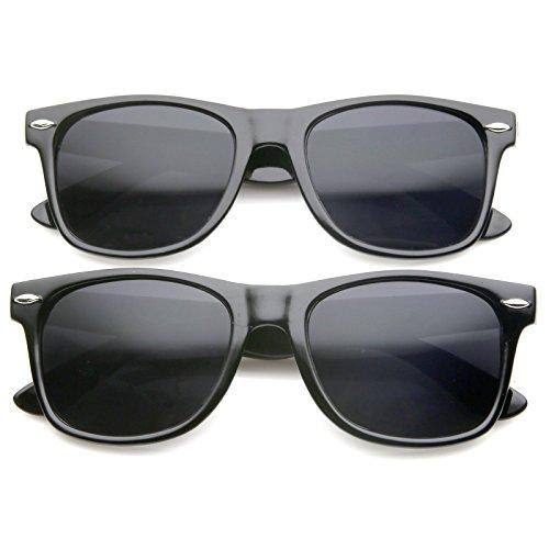 zeroUV - Retro Wide Arm Neutral Colored Lens Horn Rimmed Sunglasses 55mm (2 Pack | Shiny Black) (Bargain Sunglasses)