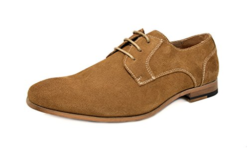 Bruno Marc Men's Constiano-1 Tan Suede Leather Oxfords Shoes - 12 M US