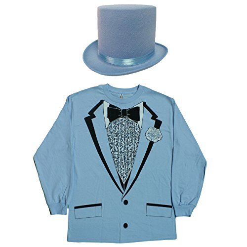 [Dumb Costume Kit - Retro Prom Long Sleeve Tux Shirt w/ Matching Top Hat (Small)] (Dumb And Dumber Harry Tux Costumes)