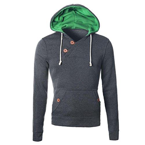 Winter Chapeaux Familizo Sweatshirt Outwear Jacket Gris Hommes Foncé Hooded wPqFTC