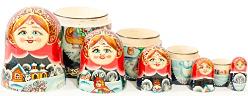 Russian Nesting Doll - Village Scenes - Hand Painted in Russia - 5 Color/Size Variations - Traditional Matryoshka Babushka (6.75``(5 Dolls in 1), Scene I) by craftsfromrussia (Image #4)