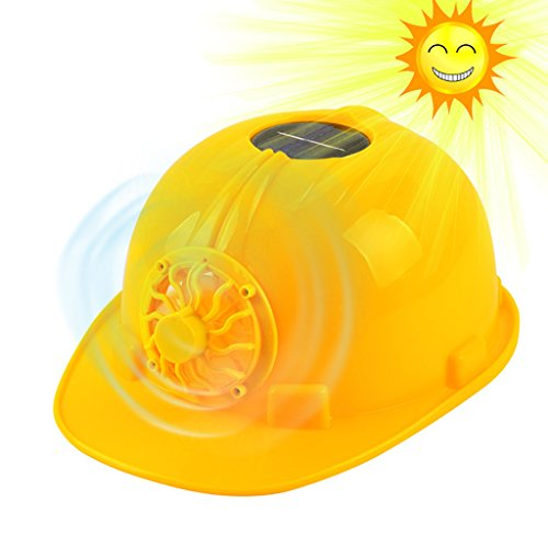 ULKEME Yellow Hard Hat Cap Head Protect Solar Powered Cooling Fan Safety Helmet Work