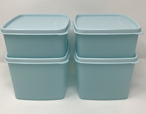 Deep Square Container (Tupperware Freeze-it Set of 4 Squares with Tropical Water Seals Small Deep and Small Shallow)