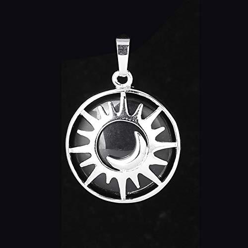 VATT Sun & Moon Pendant Reiki Healing Natural Stone Purple White Crystal Quartz Beads for Jewelry Making Necklace Women Men Black Onyx