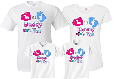 (Pink Blue Gender Reveal Pregnant Expected Baby Family Funny Matching Cute T-Shirts XXXXLarge Adult Unisex)