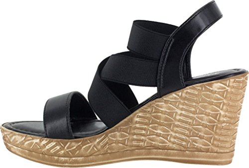Easy Street Felisa Mujeres Sandal Black Stretch / Synthetic